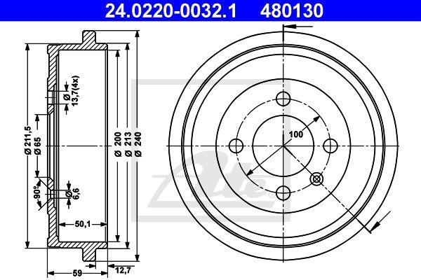 ATE Remtrommel achteras - 24.0220-0032.1
