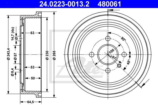 ATE Remtrommel achteras - 24.0223-0013.2