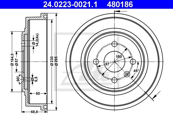 ATE Remtrommel achteras - 24.0223-0021.1