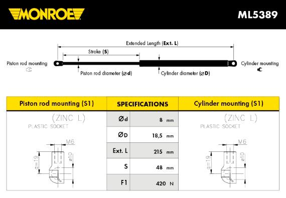 MONROE Gasveer voor, Motorkap - ML5389